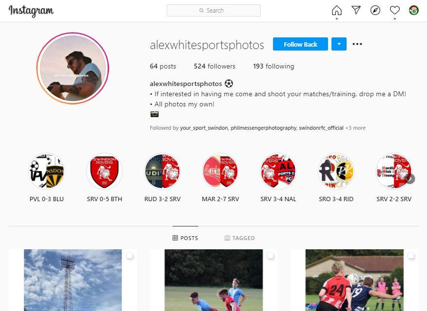 Swindon photographer Alex White Sports Instagram