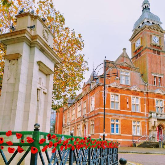 We Are Swindon town hall poppies November 2020